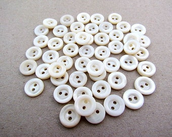 50 Vintage Mother of Pearl Buttons 10mm
