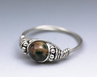 Rainforest Jasper Bali Gemstone Sterling Silver Wire Wrapped Bead Ring - Made to Order, Ships Fast!