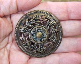 Extra Large Pierced Metal Button - Gay 90's Button, 1 3/4 Inch Button - Antique Button Circa 1900