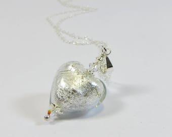 Murano Glass Heart Necklace, Venetian Silverfoiled Heart Necklace w Sterling Silver & Swarovski, Clear Silver Shining Silver Heart Necklace