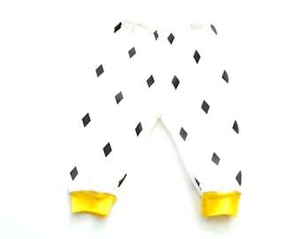 Organic Baby leggins, Baby Pants, White, Black Diamonds, Neon Yellow, Baby Shower Gift,