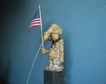Fountain and Flag working bronze signed sculpture