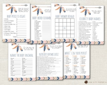 Tribal Baby Shower Games - Tribal Shower Games, Adventure Shower Game, Arrow Baby Shower Games, Feather, Arrow, Aztec, Tribal, Boho - DIY