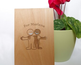 Wooden greeting card, For friends, Special greeting card, Friendship Card, Nice to meet you, Greeting card,Laser,Cutted,Engraved,Valentine's