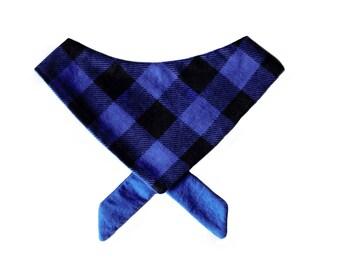 Blue Buffalo Plaid Tie on Pet Bandana or Bow Tie