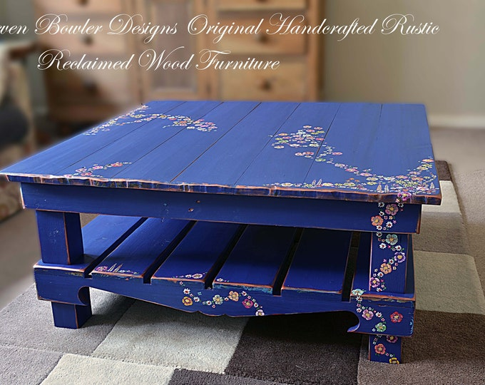 FREE UK SHIPPING Bespoke Rustic Country Cottage Coffee Table Indigo Blue with Hand Painted Country Cottage Flower Design Undershelf Storage