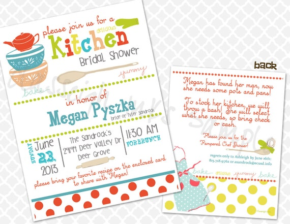 Pampered chef kitchen recipe bridal shower invitation bridal filmwisefo