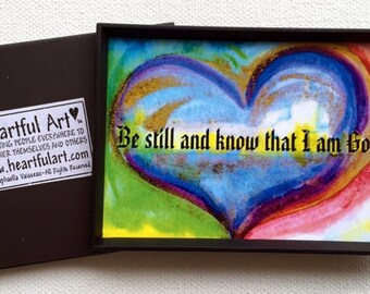 Be STILL and KNOW I Am GOD Bible Scripture Magnet Spiritual Meditation Quote Inspirational Family Friends Heartful Art by Raphaella Vaisseau