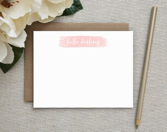 Personalized Stationery. Personalized Notecard Set. Personalized Stationary. Note Cards. Personalized. Stationery. Watercolor. Hello Darling