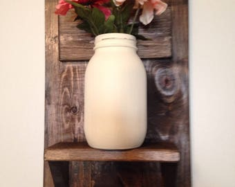 Wooden Shelf with Painted Quart Size Hanging Mason Jar