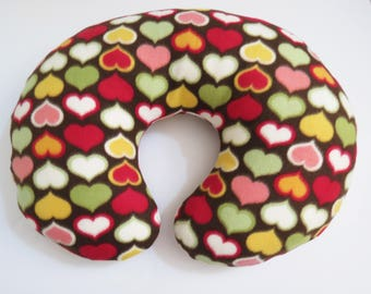 Colorful Hearts on Chocolate Brown fleece Boppy or nursing pillow cover