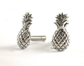 Pineapple Cufflinks Antique Sterling Silver Tropical Inspired Cuff Links