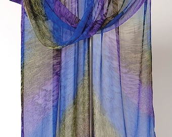 Ruana en soie peintes en vert de gris ROYAL