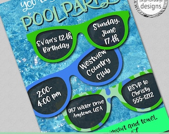Pool Party Invitation, Swimming Party, Customized, Digital JPG file