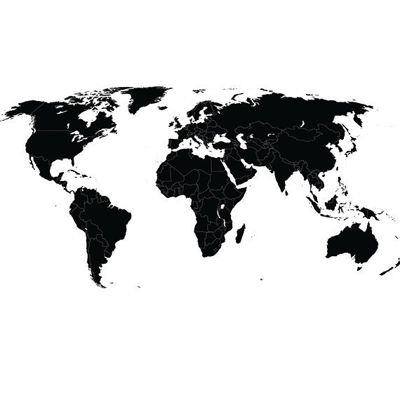 World Map Svg Clipart Silhouette World Map Vector Digital - Physical world map svg