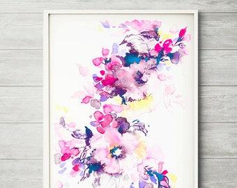 Bright watercolor, flower art, watercolor flower print, abstract flower, flower art, pink flower, floral print, pink watercolor