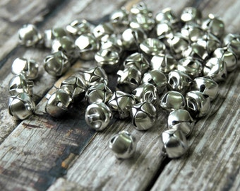 50 . Silver Jingle Bells . Christmas Bells . Holiday Decor . Christmas Gift Wrap . 1/2 inch 12mm 13mm