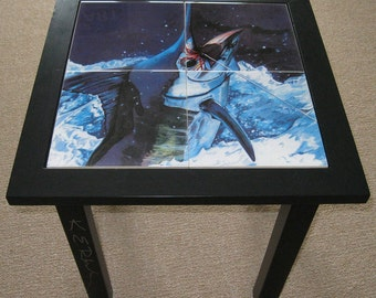 Blue Marlin Tile Wooden end table signed by artist in glossy black sportfishing decor boat and home