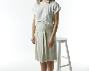 High Waisted Wool Skirt / Pleatet Cream Skirt / Retro Straight Skirt