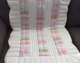 Baby Quilt with Pink Accents