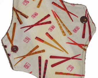 Liner Core- Yellow Chopsticks Reusable Cloth Petite Pad- 6.5 Inches