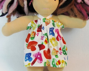 8 inch Chubby Waldorf Doll Clothes, colorful mushrooms doll dress, doll dress optional knickers, doll clothing, waldorf dress and bloomers
