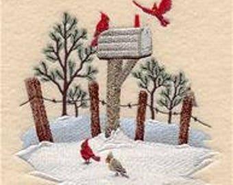 Cardinal Towel - Bird Towel - Embroidered Towel - Flour Sack Towel - Hand Towel - Bath Towel - Apron - Fingertip Towel