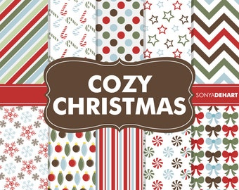80% OFF SALE Digital Paper Cozy Christmas Pack Printable Scrapbooking Papers Clipart Patterns Clipart SALE