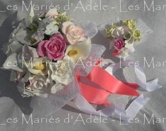 Bouquet + boutonnière mariage  TENDRES PASTELS