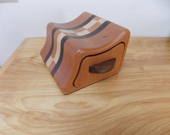 Small Cherry Wood Jewelry Box, Bandsaw Jewelry Box, Keepsake Box made from Cherry, Maple and Walnut Inlay, Key Box, Ring Box, Bracelet Box