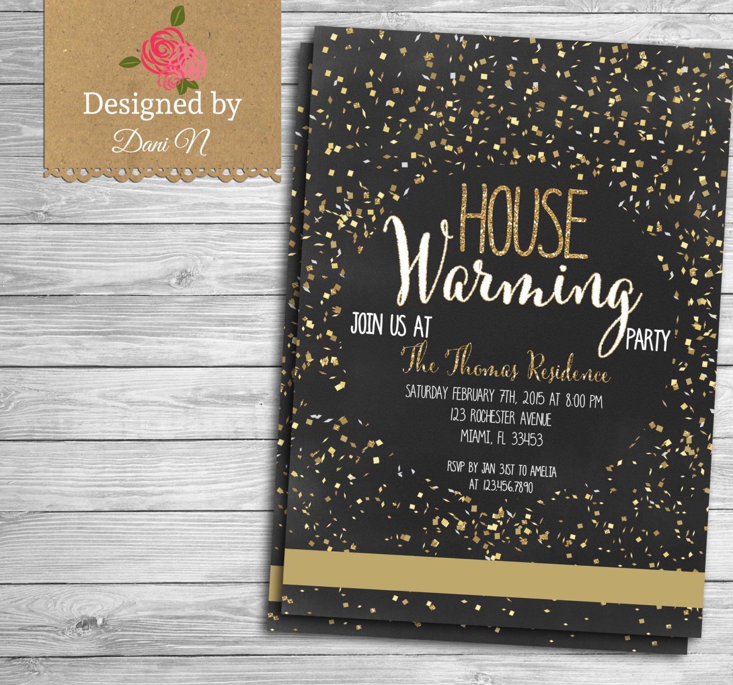 confetti housewarming invitation new house party home sweet