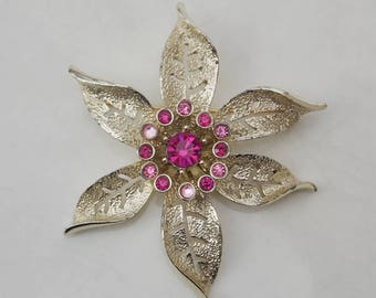 Sarah Coventry Silver Pink Jeweled Floral Brooch