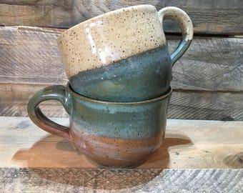 Ceramic Latte Mug / Teacup / Hand-painted / teal color-block mugs - READY TO SHIP