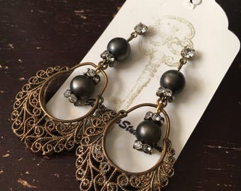 Filigree Drop Earrings, Wedding Earrings, Vintage Assemblage Earrings