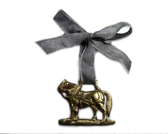 Vintage Horse Brass Christmas Ornament on Grey Ribbon