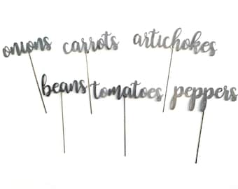 Script Font Metal Garden Markers, Metal Plant Stake, Plant Markers, Herb Garden  Stakes