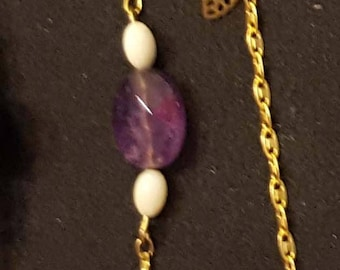 """BRACELET """"Sochi"""" Amethyst stone and ivory pearls on chains wand of fine gold plated brass"""