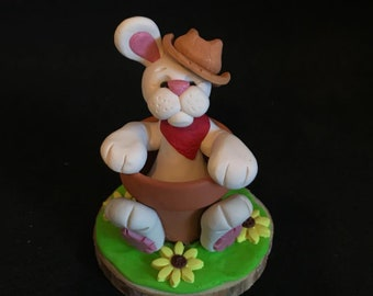 Polymer Clay Country Rabbit Stuck in a Pot