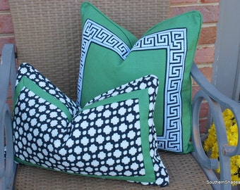 Both Sides - ONE Schumacher Betwixt Black/White Pillow Cover with Emerald Trim and Self Cording