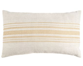 Camel Stripe Authentic Vintage Grain Sack Lumbar Pillow