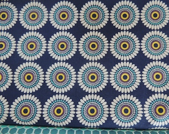 Windham background Navy Blue retro flower pattern cotton fabric coupon