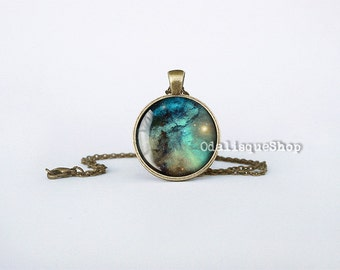 Nebula Necklace Galaxy Pendant Blue Outer Space Jewelry Astronomy Gift Keychain cb230