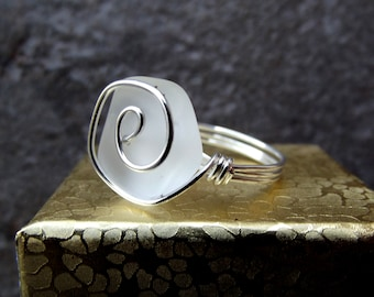 White Sea Glass Ring:  Wire Wrapped Ring, Silver Swirl Ring, Beach Wedding Jewelry, Bridesmaid Gift, Frosted Glass Bridal Ring