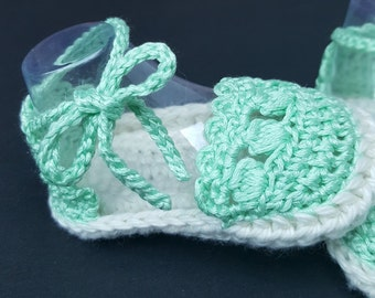 Mint Green Crochet Baby Shoes, Sandals with Bow Tie 0-12 months