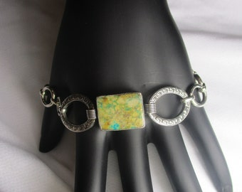 925 Silver Turquoise Natural Stone Handmade Bracelet