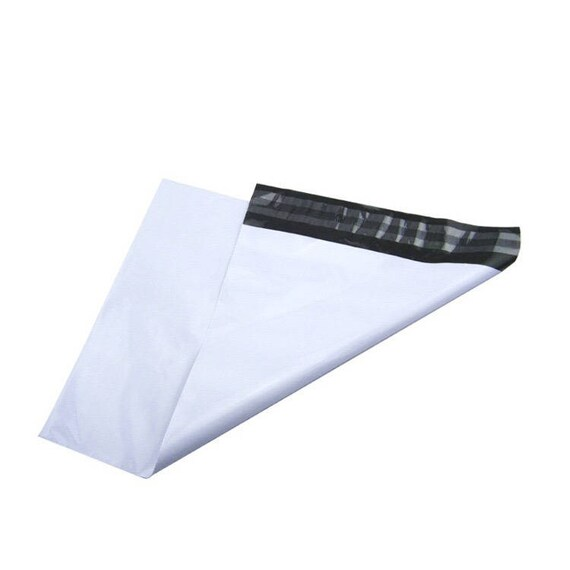 "10 white sealing bags, 15cmX31cm (approx 6""X12"")  with adhesive adress labels"