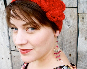Crochet Boho Headband with Large Flower - Red