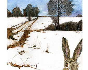 Hare in Winter Landscape Archival Giclee print 8'x11'