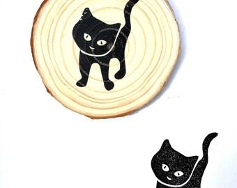 Hand carved rubber stamp black cat