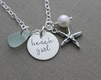 Sterling silver beach girl necklace - freshwater pearl, genuine sea glass, starfish charm and hand stamped disc - beach quote jewelry